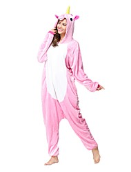 cheap -Kigurumi Pajamas Unicorn Onesie Pajamas Costume Flannel Toison Pink Cosplay For Adults' Animal Sleepwear Cartoon Halloween Festival /