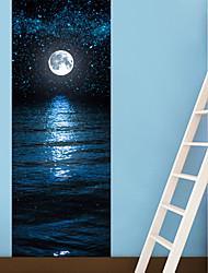 3D Door Sticker Moon and Stars Wall Sticker Waterproof Mural Poster Bathroom Door Renovation Wall Art Imitation 3D DIY Wall Sticker 77*200cm