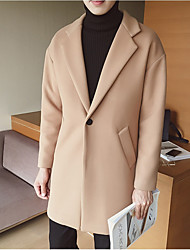 Men's Going out Street chic Winter Coat,Solid Shirt Collar Long Sleeve Long Rayon