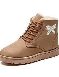 Для женщин Обувь Нубук Осень Зима Зимние сапоги Флисовая подкладка Ботинки На плоской подошве Круглый носок Ботинки Стразы Лак Шнуровка