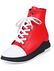 billiga -Dam Skor Konstläder Vinter Höst Ankelrem Mode Stövlar Stövlar Platå Kilklack Rundtå Stövletter Snörning för Casual Svart Röd