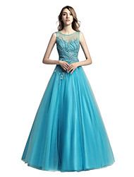 cheap -A-Line Jewel Neck Floor Length Tulle Prom Formal Evening Dress with Beading by Sarahbridal