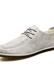 cheap -Men's Shoes Leather Spring Fall Comfort Oxfords Lace-up For Casual Gray Orange Black