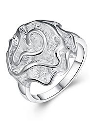 billige -Dame Band Ring - Zirkonium, Sølvbelagt Roser, Blomst Basale, Mode 6 / 7 / 8 / 9 / 10 Sølv Til Fest Office & Karriere