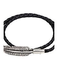 abordables -Bracelets en cuir Bracelet Magnétique Homme Femme Cuir Plume Personnalisé Rétro Bracelet Bijoux Noir Marron Rond pour Décontracté Sortie