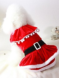 cheap -Cat Dog Costume Coat Dress Dog Clothes Party Casual/Daily Cosplay Keep Warm Wedding Halloween Christmas New Year's Solid Red