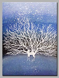 cheap -Hand-Painted Animal Vertical,Artistic Nature Inspired Modern/Contemporary Office One Panel Oil Painting