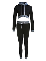 cheap -Women's Running Shirt - Black, Grey Sports Clothing Suit Yoga, Fitness, Gym Long Sleeve Activewear Stretchy