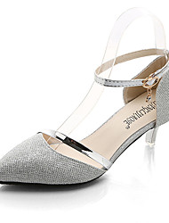 Women's Shoes PU Spring Summer Light Soles Heels Low Heel Pointed Toe Buckle For Casual Silver Gold