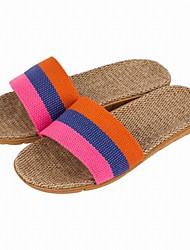 Feminino Chinelos e flip-flops Conforto Verão Outono Linho Casual Combinação Rasteiro Laranja Roxo Vermelho Rasteiro