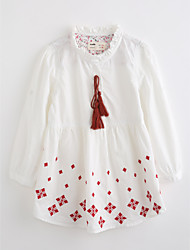 cheap -Girls' Embroidered Blouse,Cotton Fall Long Sleeve White