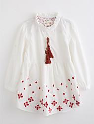 preiswerte -Mädchen Bluse Bestickt Baumwolle Herbst Lange Ärmel
