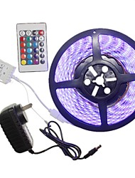 5m 300x5050led strip light sets não impermeável rgb 24 chave controlador au / eu / us / uk power plug dc12v 2a ac100-240v