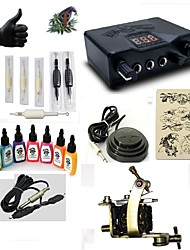 cheap -Tattoo Machine Starter Kit 1 steel machine liner & shader LED power supply 5 x disposable grip 5 pcs Tattoo Needles