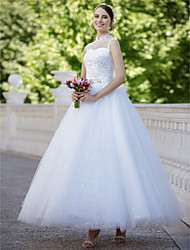 Ball Gown Illusion Neckline Ankle Length Tulle Wedding Dress with Sequin Appliques by QQC Bridal