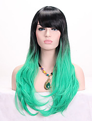 cheap -Women Synthetic Wig Capless Long Wavy Black/Green Ombre Hair Dark Roots With Bangs Cosplay Wig Costume Wig
