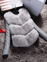Women's Going out Casual/Daily Simple Winter Fur Coat,Solid Cool Skulls Round Neck Long Sleeve Regular Faux Fur Fur Trim