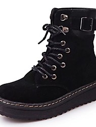 cheap -Women's Shoes Suede Fall Combat Boots Boots Flat Heel Round Toe Lace-up for Dress Black Gray