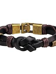 Недорогие -Муж. Жен. Кожаные браслеты - Кожа Панк, Мода Браслеты Черный / Коричневый Назначение Повседневные