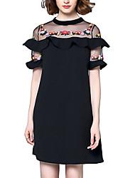Damen Etuikleid T Shirt Kleid-Party Lässig/Alltäglich Sexy Boho Blumen Stickerei Rundhalsausschnitt Mini Übers Knie Ärmellos Polyester
