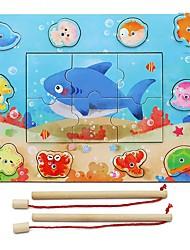 economico -Costruzioni Puzzle Modellini di legno Giocattoli di pesca Gioco educativo Fai da te Rettangolare Quadrato Prodotti per pesci Per bambini