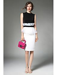Gaine Noir et blanc Robe Femme Décontracté / Quotidien Chinoiserie,Couleur Pleine Col Arrondi Au dessus du genou Sans Manches Polyester