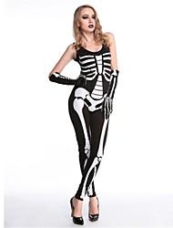 abordables -Squelette / Crâne Costume de Cosplay Halloween Le jour des morts Fête / Célébration Déguisement d'Halloween Noir Mode