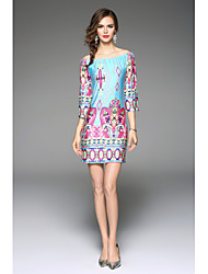 Women's Honeymoon Homecoming Date Vacation Sexy Boho A Line Dress,Art Deco Off Shoulder Above Knee, Mini Long Sleeve N/A Summer Mid Rise