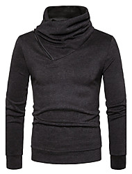 Men's Going out Casual/Daily Simple Regular Pullover,Solid Cowl Neck Long Sleeves Cotton Spring Fall Medium Stretchy