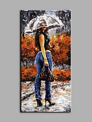 cheap -Oil Painting Hand Painted - People Art Deco / Retro Canvas