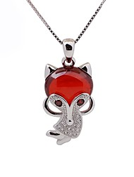 cheap -Women's Fox Animal Design Fashion Choker Necklace Pendant Necklace Synthetic Ruby Sterling Silver Rhinestone Choker Necklace Pendant
