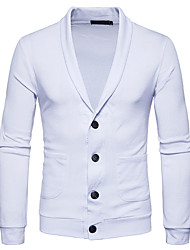 cheap -Men's Daily Going out Weekend Casual Solid Shirt Collar Cardigan, Long Sleeves Spring Fall Cotton Polyester