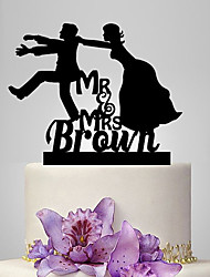 cheap -Cake Topper Classic Theme Wedding Classic Couple Plastic Wedding With Poly Bag