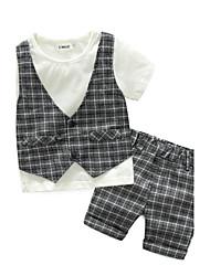 Boys' Check Sets,Cotton Summer Short Sleeve Clothing Set