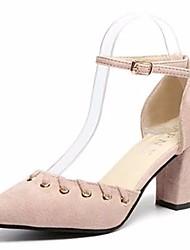 Недорогие -Для женщин Обувь Резина Лето Удобная обувь Обувь на каблуках Блочная пятка Заостренный носок Пряжки Назначение Черный Военно-зеленный