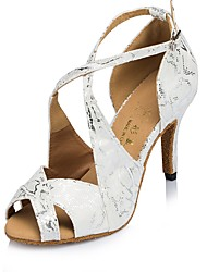 "Women's Latin Flocking Sandal Heel Sneaker Indoor Pattern/Print Stiletto Heel Black White 3"" - 3 3/4"" Customizable"