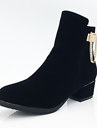 Women's Shoes Fleece Fall Winter Fashion Boots Bootie Combat Boots Boots Chunky Heel Round Toe Booties/Ankle Boots Zipper Chain For
