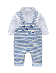 cheap -Baby Boys' Cotton Daily Stripe Clothing Set, Cotton Spring/Fall Stripes Long Sleeves White
