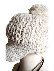 baratos -Mulheres Chapéu Estampado Decoração de Cabelo Chique & Moderno Mantenha Quente Roupa de Malha Floppy Esqui Boné - Côr Pura Sólido