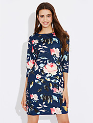 cheap -Women's Plus Size Work Party Vintage Sheath Dress,Floral Round Neck Knee-length ¾ Sleeve Polyester Summer High Rise Micro-elastic Medium