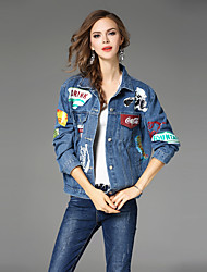 Maxlindy Women's Holiday Going out Casual/Daily Vintage Street chic Sophisticated Fall Winter Denim Jacket,Print Letter Shirt Collar Long Sleeve
