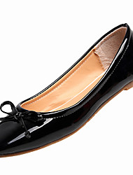 cheap -Women's Shoes Patent Leather Spring / Summer Comfort / Light Soles Flats Flat Heel Round Toe Bowknot Black / Red / Pink