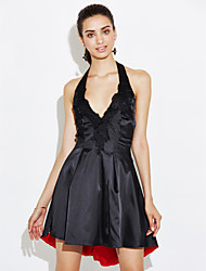 cheap -Women's Party Daily Sexy Street chic Sheath Dress,Patchwork Halter Above Knee Sleeveless Polyester Summer Mid Rise Micro-elastic Medium