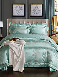 cheap -Duvet Cover Sets Geometric 4 Piece Polyester/Linen Blend Jacquard Polyester/Linen Blend 1pc Duvet Cover 2pcs Shams 1pc Flat Sheet