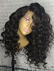 cheap -women human hair lace wig peruvian human hair glueless lace front 130% density with baby hair curly wig black long natural hairline