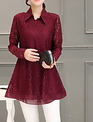 cheap -Women's Going out Blouse - Solid Colored / Houndstooth Lace Shirt Collar