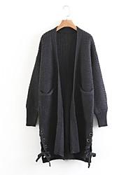Longue Cardigan Femme Sortie Décontracté / Quotidien simple Mignon,Couleur Pleine Col en V Manches Longues Laine Coton Autres Printemps