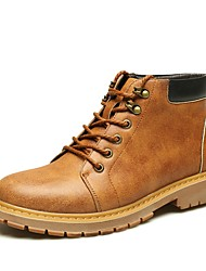 cheap -Men's Shoes Leather Winter Fall Formal Shoes Combat Boots Oxfords Gore for Casual Work & Safety Office & Career Outdoor Gray Yellow Brown