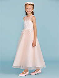A-Line Princess Jewel Neck Ankle Length Lace Tulle Junior Bridesmaid Dress with Appliques Sash / Ribbon by LAN TING BRIDE®