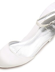 abordables -Femme Chaussures Satin Printemps Eté Confort D'Orsay & Deux Pièces Chaussures de mariage Talon Plat Bout rond Strass Paillette Brillante